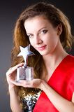 Woman winning  beauty contest Royalty Free Stock Images