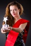 Woman winning  beauty contest Royalty Free Stock Photo