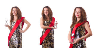 The woman winning the beauty contest Stock Photos