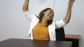 Woman winning dancing celebrating her success excited Stock Image