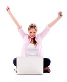Woman winning online Stock Photos