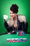 Woman wins with two ace in the casino Royalty Free Stock Image