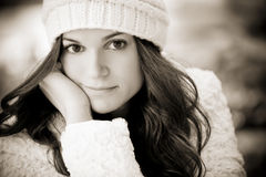 Woman on winter royalty free stock photos