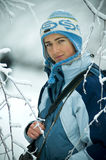 Woman in winter. A portrait of a young woman in the winter snow Stock Photography