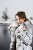Woman at winter Stock Images