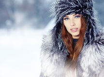 Woman  on the winter background Royalty Free Stock Image