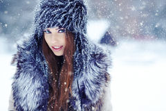Woman  on the winter background Royalty Free Stock Photo