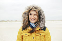 Woman in winter on the beach Royalty Free Stock Photos