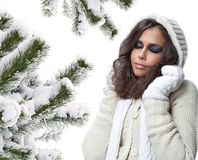 Woman winter beauty portrait royalty free stock images