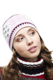 Woman in winter cap interested. Woman in winter cap look with interest aside,isolated on white Royalty Free Stock Photos