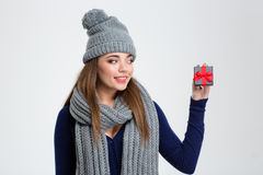 Woman in winter cloth holding jewelry gift box Stock Photography