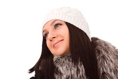 Woman with winter clothes Stock Image