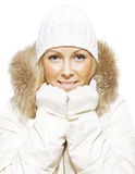 Woman in winter clothes Stock Photos