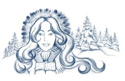 Woman in winter clothes. Young woman in winter clothes on background of winter landscape Stock Image