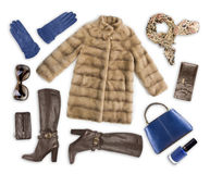 Woman winter clothes and accessories isolated on white background Royalty Free Stock Photography