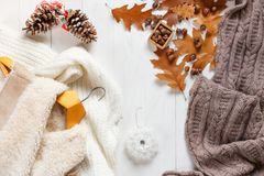 Woman winter clothes collage on white, flat lay, top view.  Stock Photography