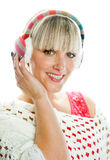 Woman in winter clothes with earmuff Royalty Free Stock Image