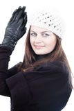 Woman in winter clothes and gloves Royalty Free Stock Photos