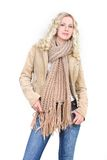 Woman in winter clothes over white Stock Images