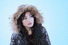 Woman in a winter clothes stare at copyspace. Beautiful girl in the snowy day wearing winter jacket and looking at the copyspace stock images