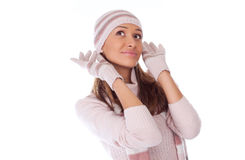 woman in winter clothes on a white Royalty Free Stock Photos