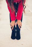 Woman winter clothes Stock Photo