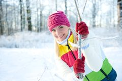 Woman in winter clothing Royalty Free Stock Image