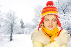 Woman in winter clothing royalty free stock photography