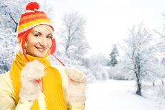 Woman in winter clothing Stock Photography