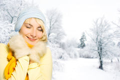 Woman in winter clothing Royalty Free Stock Photos