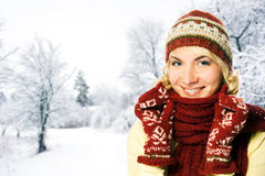 Woman in winter clothing Stock Image