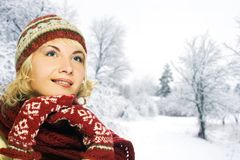 Woman in winter clothing Royalty Free Stock Photo