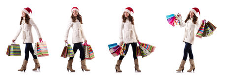 The woman in winter clothing doing christmas shopping Royalty Free Stock Photography