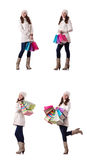 The woman in winter clothing doing christmas shopping Royalty Free Stock Image