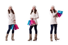 The woman in winter clothing doing christmas shopping Stock Photography