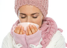 Woman in winter clothing drinking hot beverage Royalty Free Stock Photography