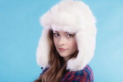 Woman in winter clothing fur cap Stock Photography