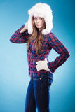 Woman in winter clothing fur cap Royalty Free Stock Photos
