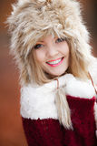 Woman in winter clothing fur cap outdoor Royalty Free Stock Image