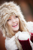 Woman in winter clothing fur cap outdoor Royalty Free Stock Photography