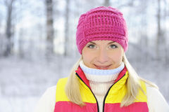 Woman in winter clothing outdoors Royalty Free Stock Images