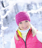 Woman in winter clothing outdoors Stock Image