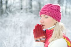 Woman in winter clothing outdoors Royalty Free Stock Image