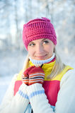 Woman in winter clothing outdoors Royalty Free Stock Photos