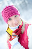 Woman in winter clothing outdoors Royalty Free Stock Photo