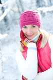 Woman in winter clothing outdoors Stock Photo