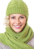 Woman with winter clothing Royalty Free Stock Image