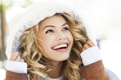 Woman in winter clothing stock photos