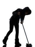 Woman winter coat brooming silhouette Stock Photos