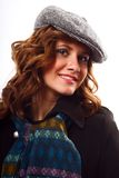 Woman with winter coat and hat Stock Photography